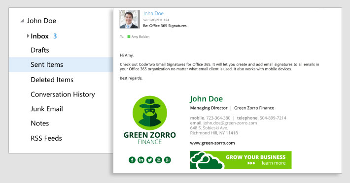 Display Office 365 email signatures in users' Sent Items folders