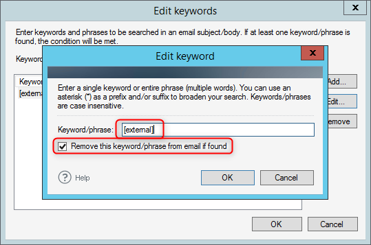 Set up a keyword to be removed from the email subject or body.