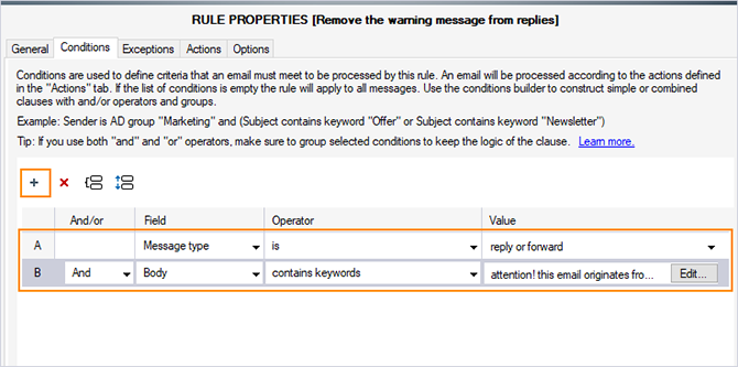 Set up conditions to remove a warning message