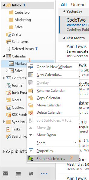 Share your calendar in Outlook 2016.