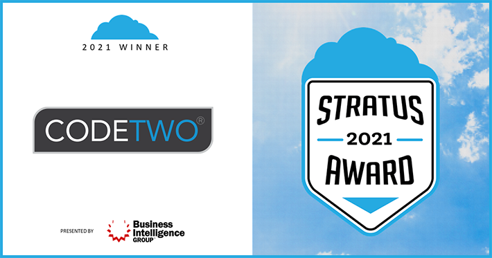 CodeTwo wins the 2021 Stratus Award for the best Cloud Company
