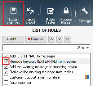 Submit changes to remove keyword from email subject