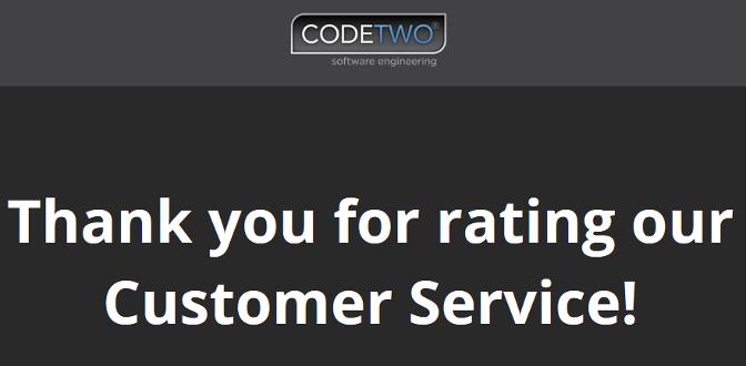 Thank you for rating our Customer Service