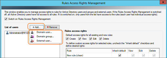 Add users that will be granted access rights to rules