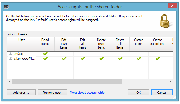 Access rights for the shared folder