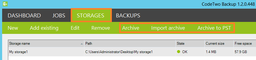 New features under the Storages tab: Archive, Import archive and Archive to PST.