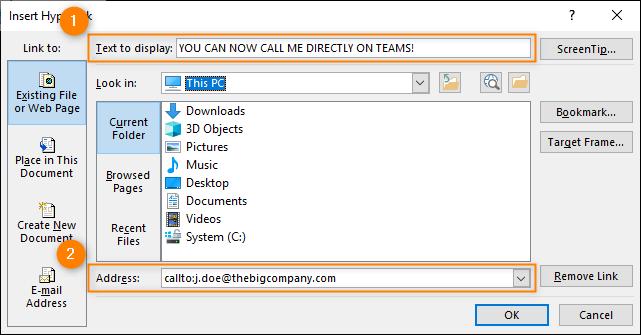 Outlook's insert hyperlink link window - adding a Teams link
