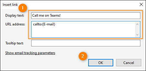 Insert link window - adding a Teams link