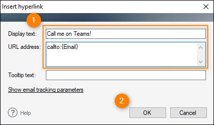 Insert hyperlink window - adding a Teams link