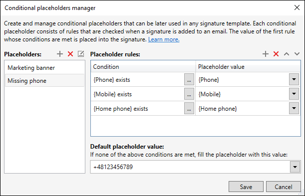 Conditional placeholders