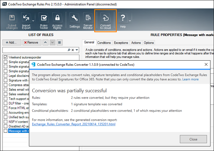 CodeTwo Exchange Rules Converter
