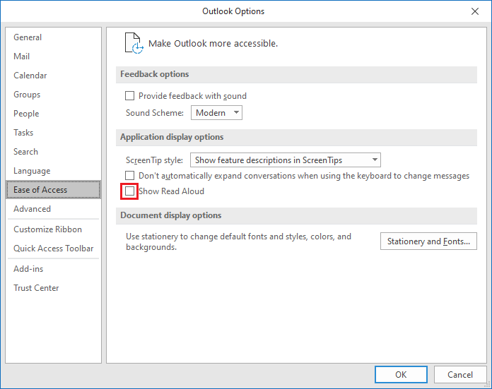 How to disable Read Aloud in Outlook and Word