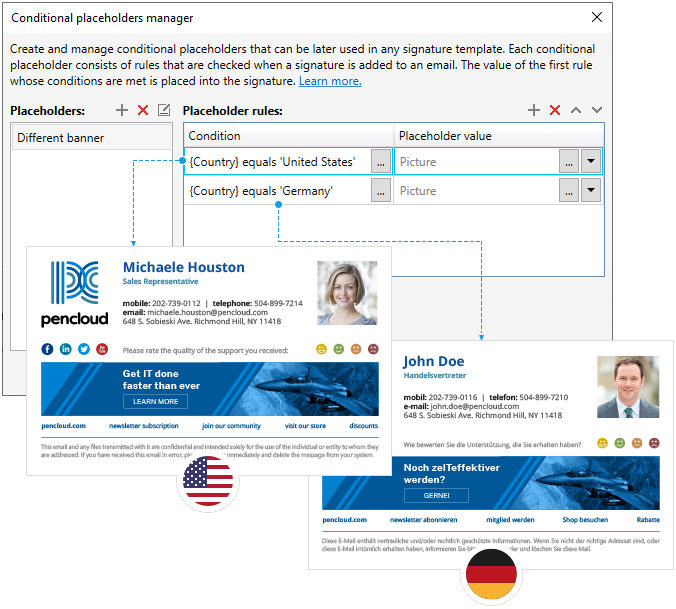 Change banner based on sender's Country attribute in Active Directory