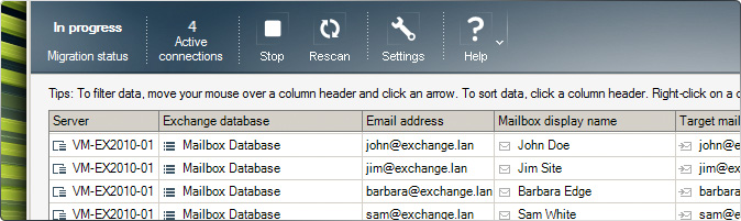 The main window of CodeTwo Exchange Migration