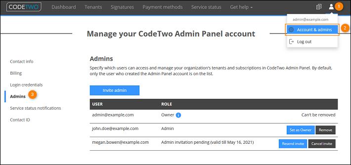 Invite admins in CodeTwo Admin Panel