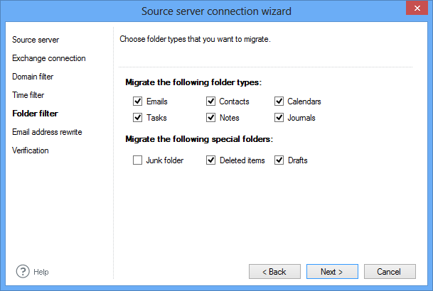 Migration configuration - choosing the folder types