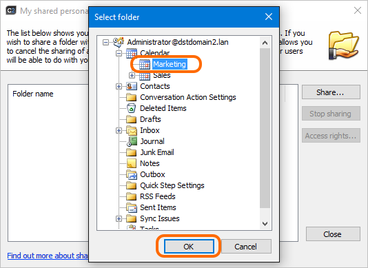 Select folders for sharing.