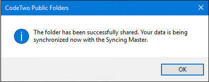 Notification on a successfully shared calendar in Outlook.