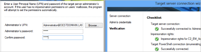 Configuring the target server connection