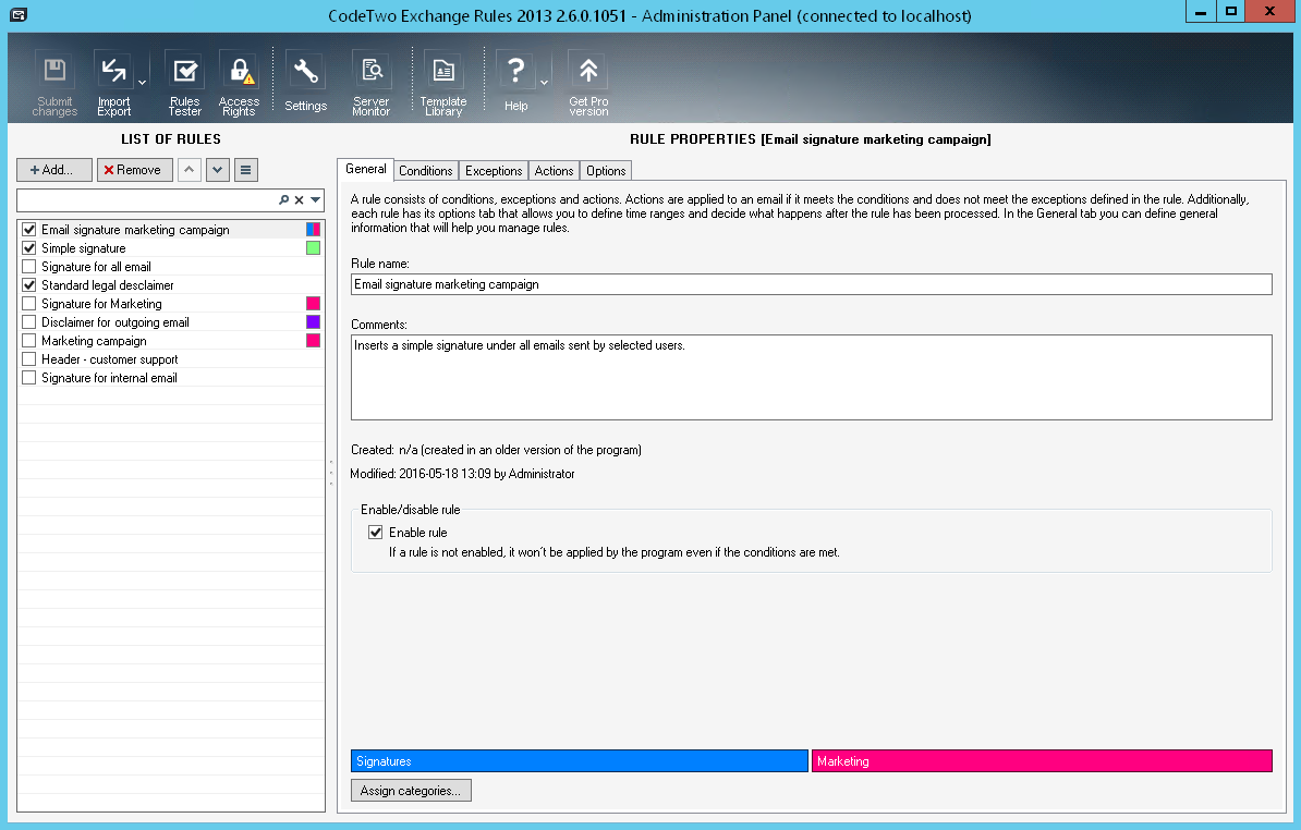 CodeTwo Exchange Rules screenshot
