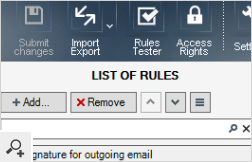 The main window of the Administration Panel contains the navigation pane (top menu), the list of rules and rules properties. Every option is easily accessible and stay always at hand.