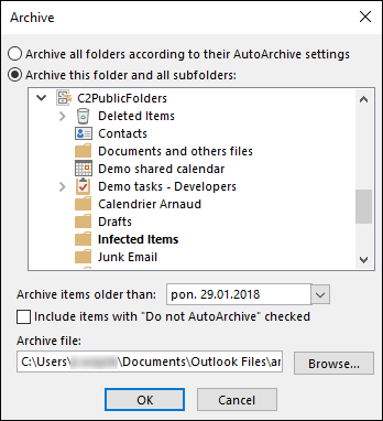 How to archive CodeTwo Public Folders data