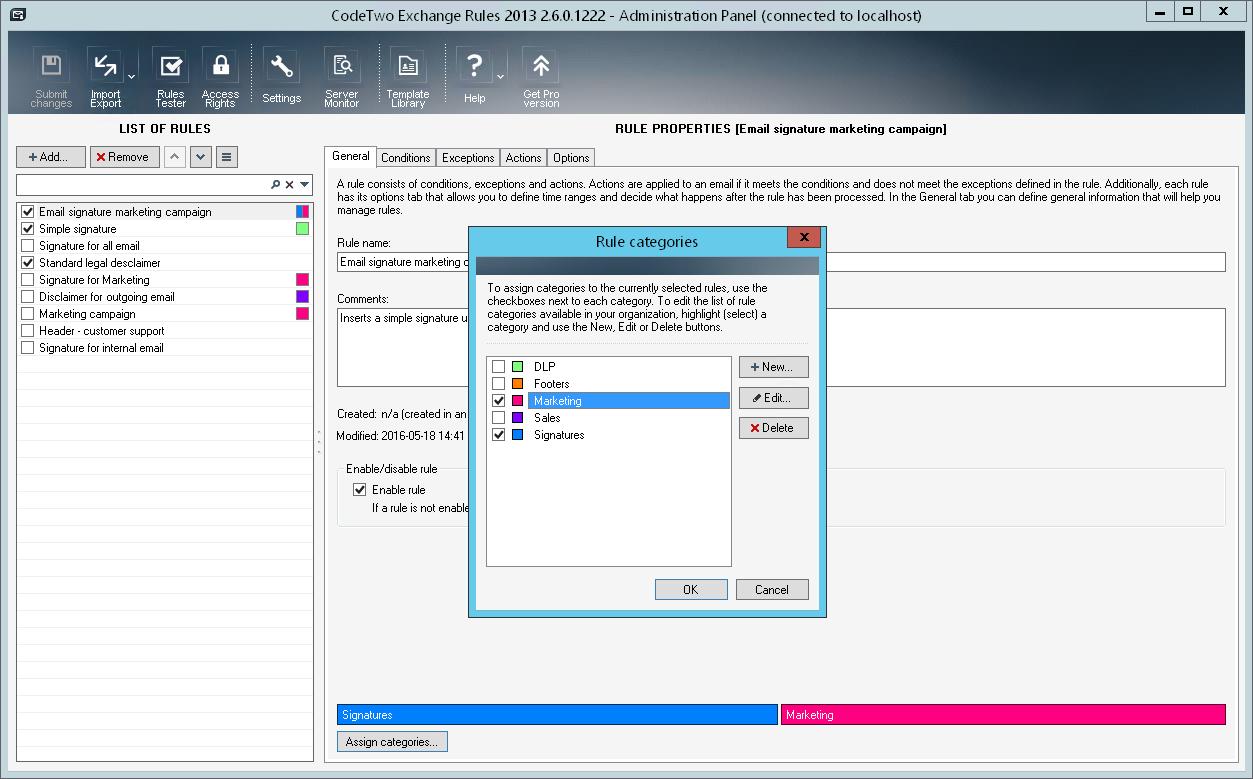 Full CodeTwo Exchange Rules screenshot