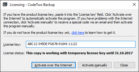 How to find the license key in CodeTwo software