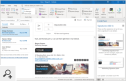 In client-side mode, signatures are made available to users in Outlook via a dedicated add-in. Email signatures are inserted to emails automatically by the program but can be manually selected by users as well.
