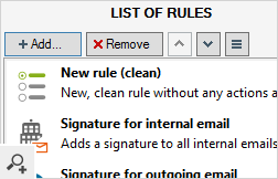 Creating a new rule is very simple. Pressing the Add… button will give you a few possibilities. You can either begin creating your own rule from scratch or use one of the predefined shortcuts to popular rule types.