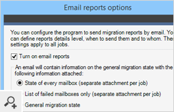 You can receive reports on the progress of the migration process by email. The reports can be tailored to your needs.