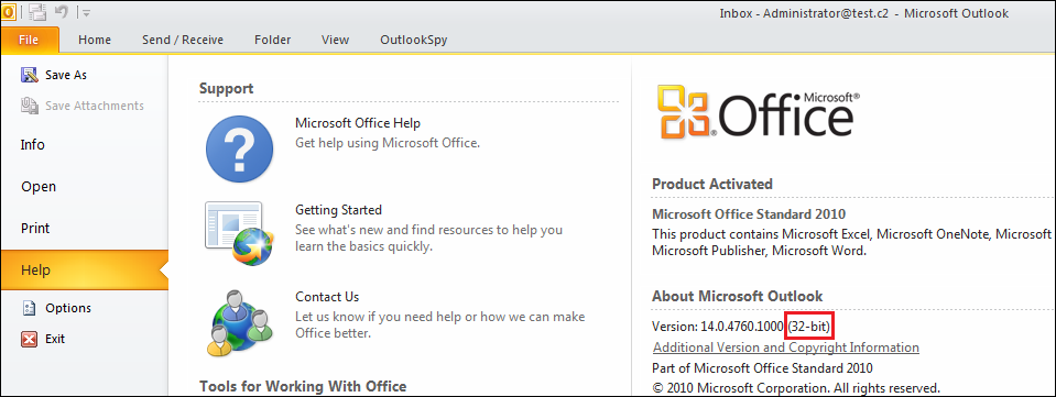 find outlook 2010 product key