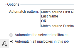 "The program is also equipped with the automatic ""Automatch"" option. It matches the mailboxes from the source and destination servers based on user-defined matching patterns."