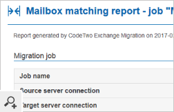 The detailed report of auto-matched mailboxes shows, e.g. which mailboxes need to be connected manually before the migration starts.