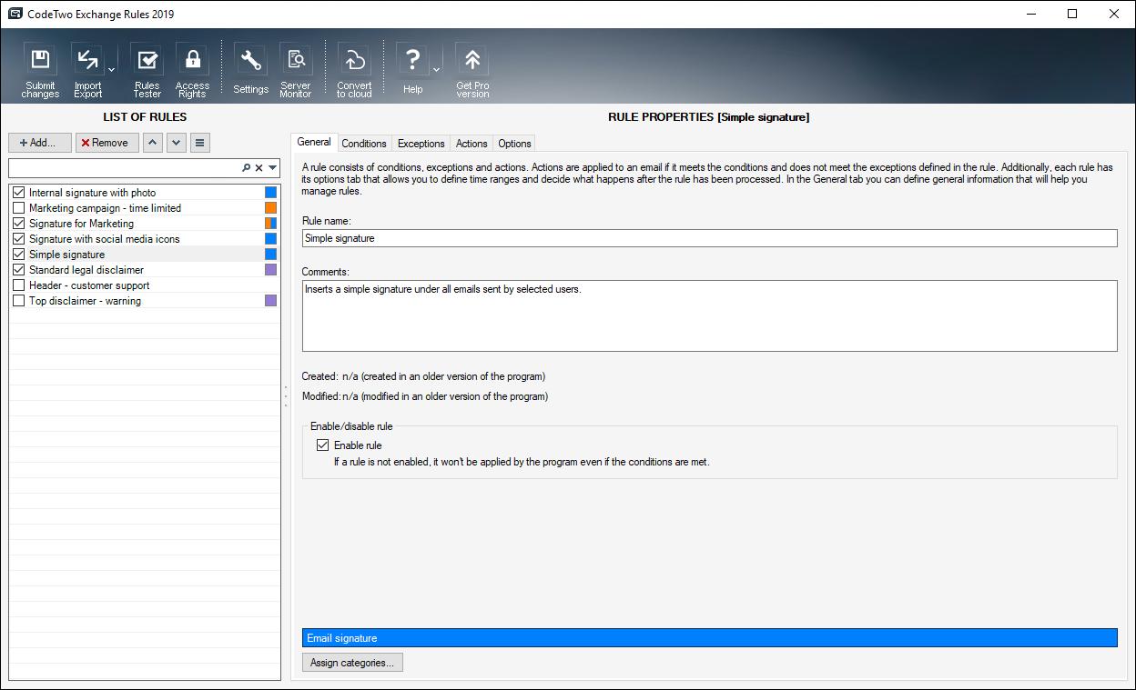 Full CodeTwo Exchange Rules 2010 screenshot