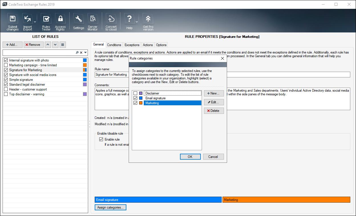 CodeTwo Exchange Rules 2010 screenshot