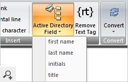 The template editor of CodeTwo Exchange Rules 2003 with Active Directory dynamic fields.
