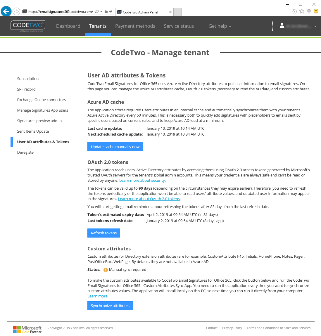 Tenant management - User AD attributes & Tokens | CodeTwo