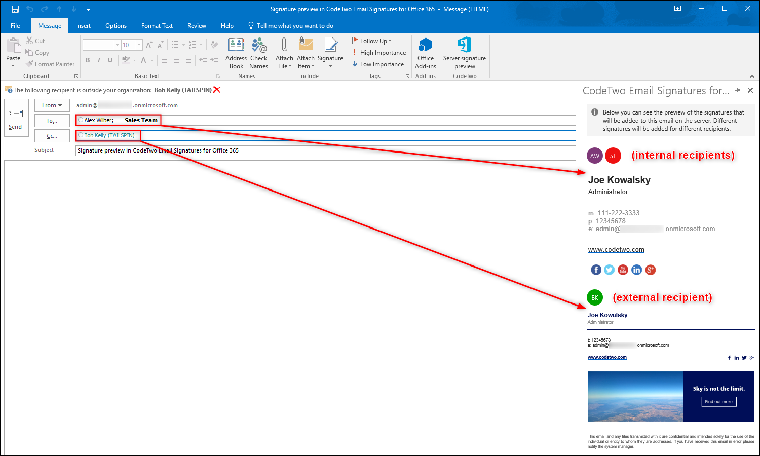 Signature management - Signature preview in Outlook - Previewing