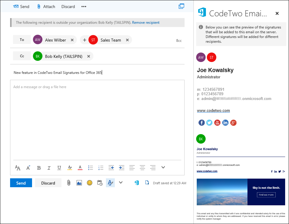 Signature management - Signature preview in Outlook