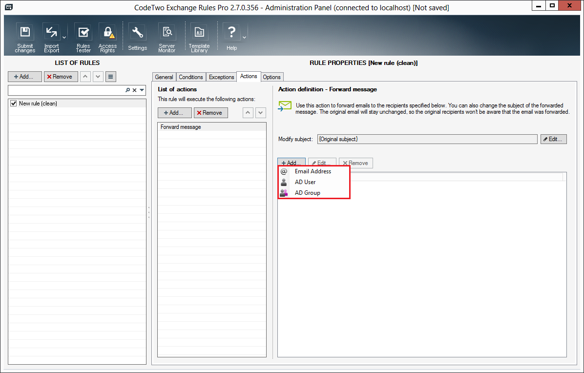 configuration of rules actions forward message codetwo choosing the type of recipient in the actions properties pane