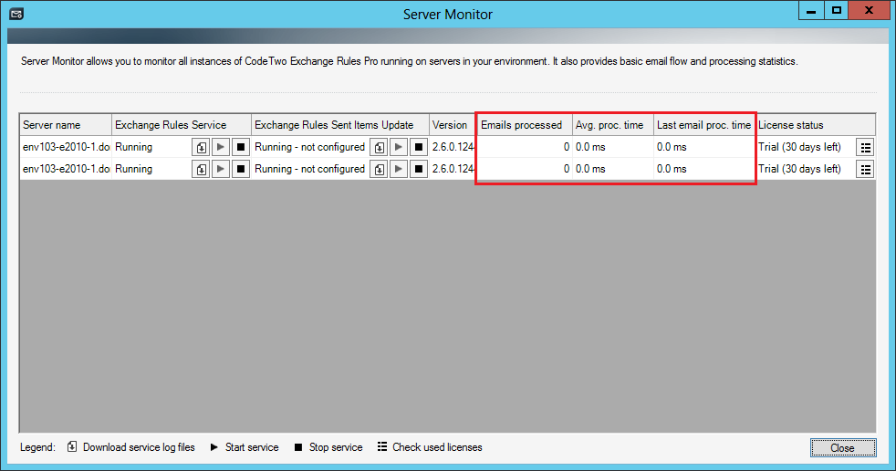 Settings and advanced features - Server Monitor   CodeTwo