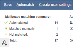After the Automatch process completes, the Match mailboxes wizard displays a short summary with information about actions that can be performed automatically. You can modify these actions before saving the setting.