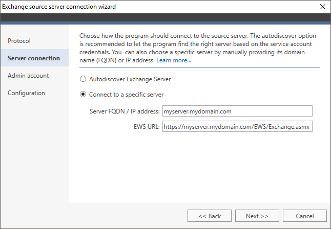 How to - Connect to a source Exchange server | CodeTwo