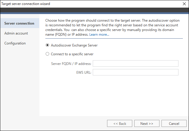 How to - Connect to a target Exchange server | CodeTwo