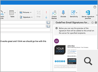 Signature preview in Outlook for Mac