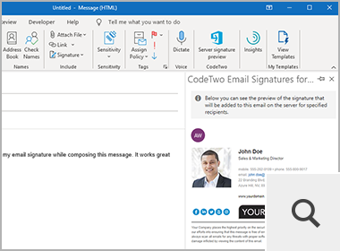 Signature preview in Outlook by CodeTwo Email Signatures for Office 365
