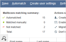 After the auto-matching of the mailboxes, a short status report is displayed. If the program does not find matches for any of the source mailboxes, it will suggest creating them automatically.