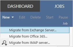 To configure data migration tasks, you need to create a migration job. You can migrate entire mailboxes from on-premises Exchange servers or emails from IMAP platforms (like G Suite or IBM Notes). You can also migrate all items between two Office 365 (Microsoft 365) tenants.