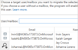 The source mailboxes can also be matched with their target equivalents manually at any point before starting the migration.